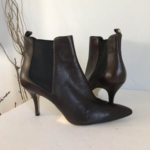 Michael Kors brown leather heeled booties